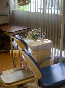 矯正歯科の診察台から外を望む